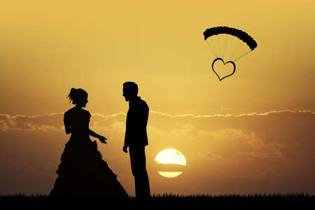 outdoor event: Bride and groom at sunset Stock Photo