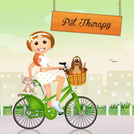 pet therapy: illustration of pet therapy Stock Photo