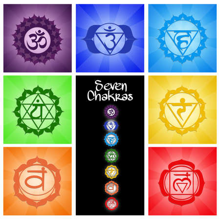 swadhisthana: Seven Chakras collage Stock Photo