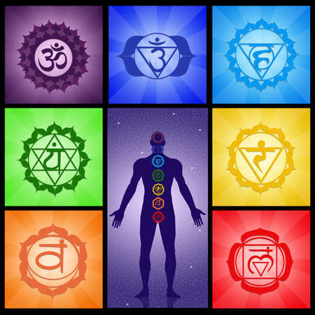 spiritual energy: Seven Chakras collage Stock Photo