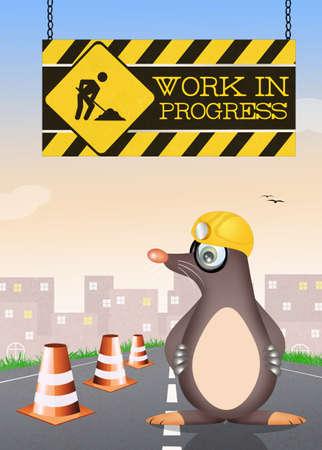 animal den: funny illustration of work in progress