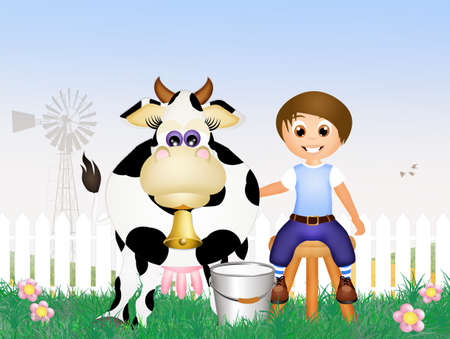 milk pail: child milking a cow