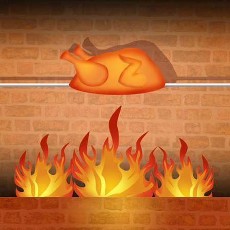 pollo rostizado: pollo asado  Foto de archivo
