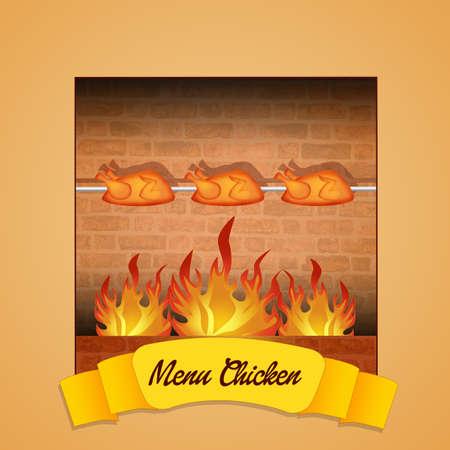 pollo rostizado: Men� de pollo Foto de archivo