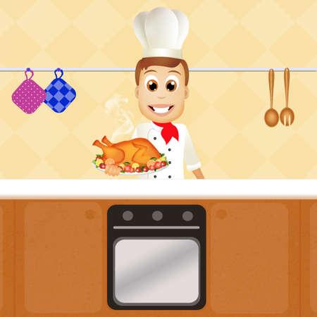 pollo rostizado: hombre con pollo