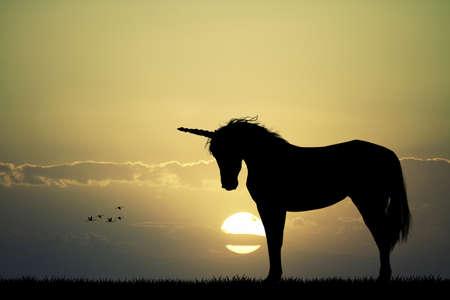 Unicorn silhouette Banque d'images