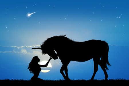 eenhoorn en meisje