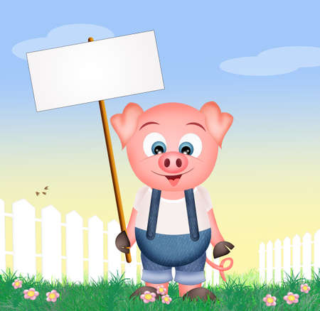 piglets: pig with sign