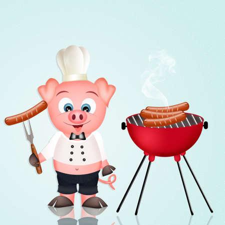 pigsty: barbecue pork Stock Photo