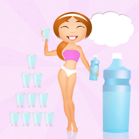 girl drinking water: drink water Stock Photo