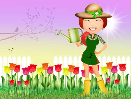tulips field: girl in tulips field Stock Photo