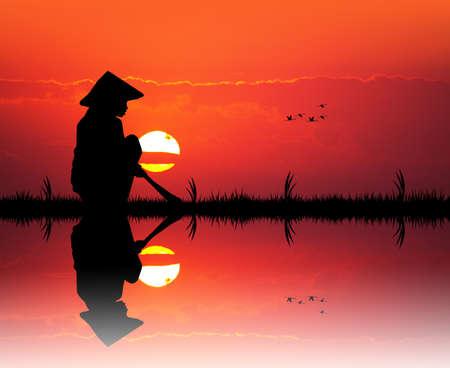 asian farmer: Asian farmer at sunset