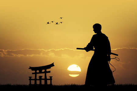 longsword: Japanese man with sword at sunset
