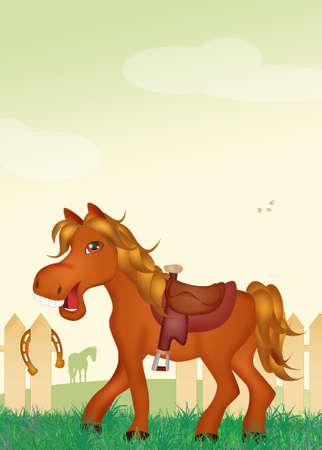 horse saddle: horse with saddle