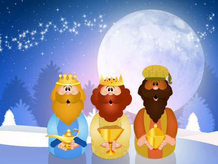 myrrh: funny Christmas Nativity scene Stock Photo