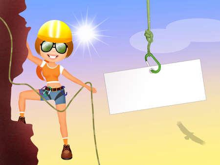 free climber: rock climbing girl