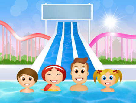 water park: people in water park