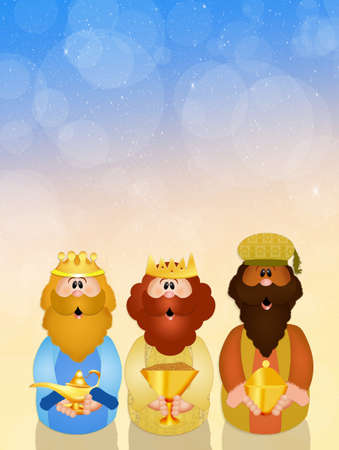 wise men: funny Christmas Nativity scene Stock Photo