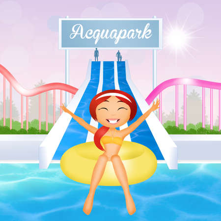 water park: girl in water park