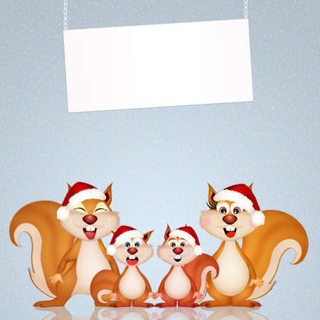 snow forest: squirrels at Christmas