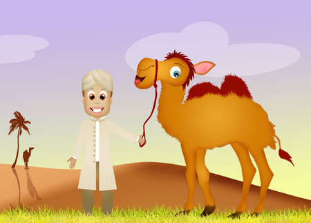 arab beast: beduin with camel Stock Photo