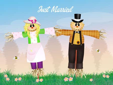 autumn scarecrow: Wedding of scarecrows Stock Photo