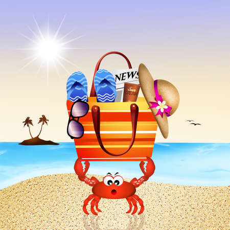 sun tanning: funny crab with beach bag