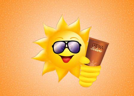 suntan cream: sun with sunscreen