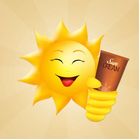 suntan cream: sun with sun cream