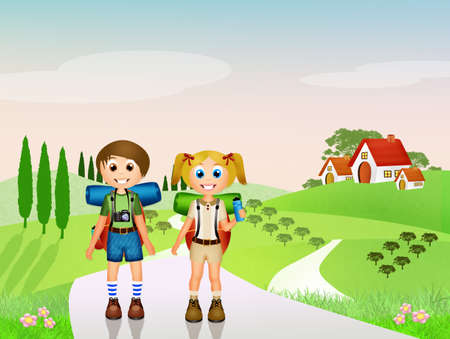 family hiking: Children walking in the mountains