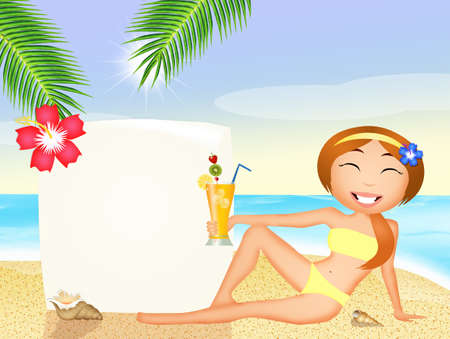 tanned girl: girl with cocktail on the beach