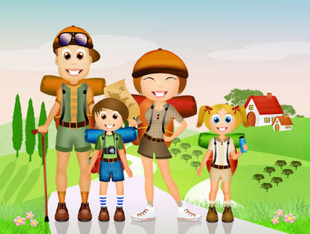 family hiking: Family walking in the mountains Stock Photo