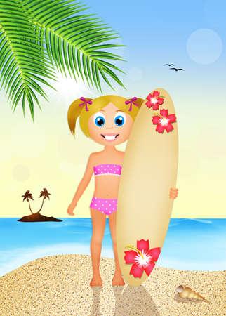 surf girl: girl with surf on the beach