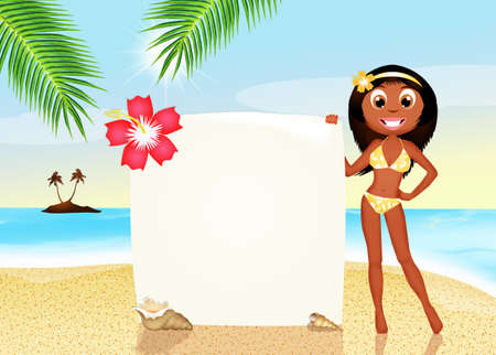 tanned girl: girl with summer card Stock Photo