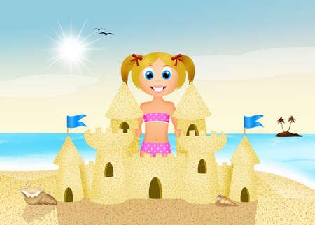 sandcastle: girl makes sandcastle