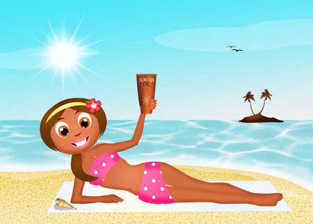 tanned girl: tanned girl with solar oil