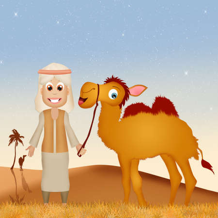 humps: bedouin with camel in the desert