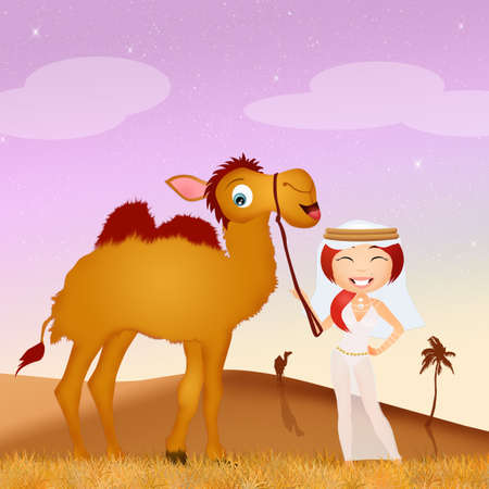 humps: Arab woman and camel