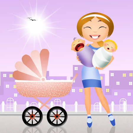 babysitter: mother with pram