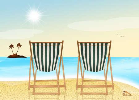 deck: deck chair on the beach