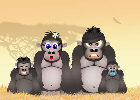gorillas: family of gorillas in the forest Stock Photo