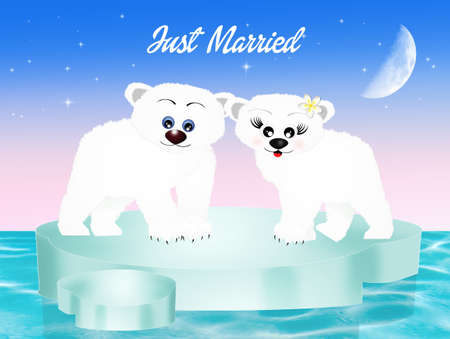 familias felices: El matrimonio de osos blancos Foto de archivo