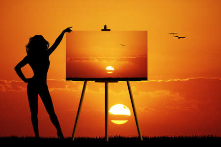 painter with canvas