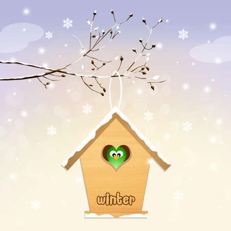 winter tree: birdhouse in winter