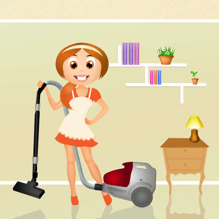 hardworking: woman with vacuum cleaner