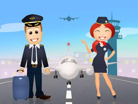 arrivals: pilot and hostess