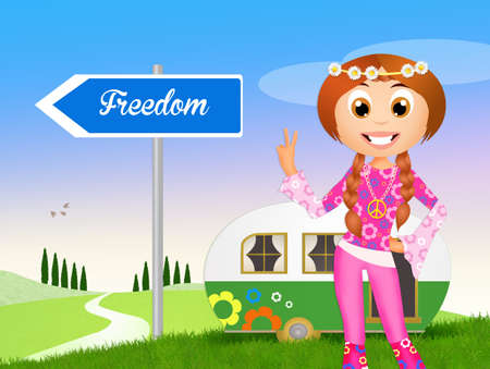 hippy: Funny illustration of hippy girl