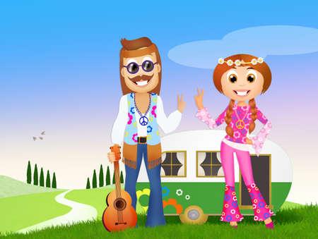 freedom couple: hippy couple