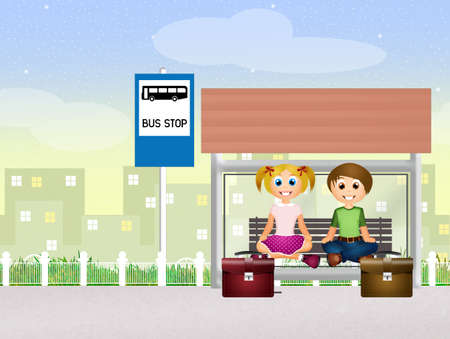 bus station: children on bus station