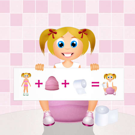 young girl bath: girl learning to use the potty